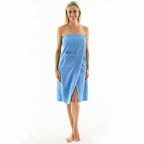 Saunakilt für Damen 90 x 150 cm Frottee Baumwolle langer Schnitt, hell-blau, mit Stickerei