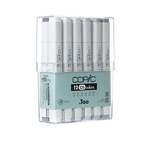 Töne Permanente Feuchtigkeit (Copic CZ20075151 classic Marker CG 12-er Set C0, C1, C2, C3, C4, C5, C6, C7, C8, C9, C10, 100, grau)