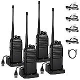 Radioddity GA-2S UHF Talkie Walkie 16 canaux Fonctions VOX avec câble Rechargeable et Un Casque (4 pcs+ 1 câble de Programmation)