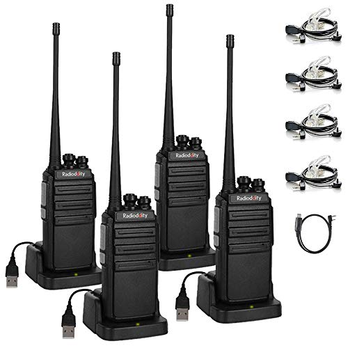 Radioddity GA-2S Long Range Walkie Talkies UHF Two Way Radio Rechargeable  with Micro USB Charging + Air Acoustic Earpiece + 1 Free Programming Cable,