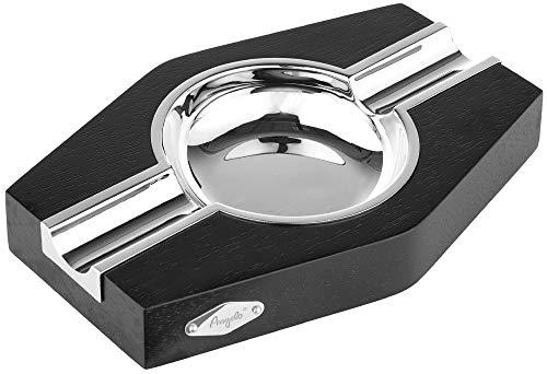 Zigarrenaschenbecher für 2 Zigarren - Metall/Holz - Humidor - Marke: ANGELO