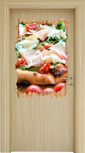 Leckere Pizza mit Parmaschinken Holzdurchbruch im 3D-Look , Wand- oder Türaufkleber Format: 92x62cm, Wandsticker, Wandtattoo, Wanddekoration