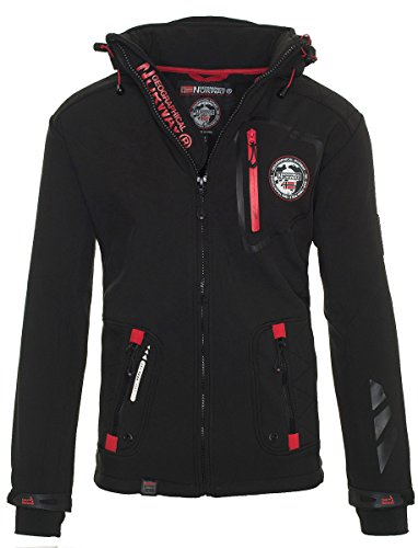 Geographical Norway Herren Softshell Jacke Funktionsjacke Outdoor Regen Sport [GeNo-22-Schwarz-Gr.L]