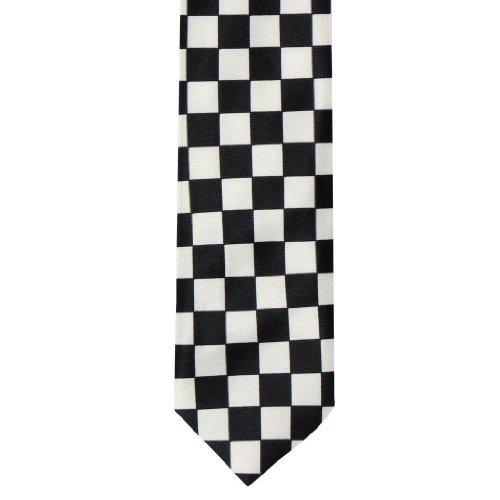 Unisex Retro Schwarz & Weiß Kariert Skinny Modische Krawatte (Schwarz Und Weiß Fancy Dress Kostüme)