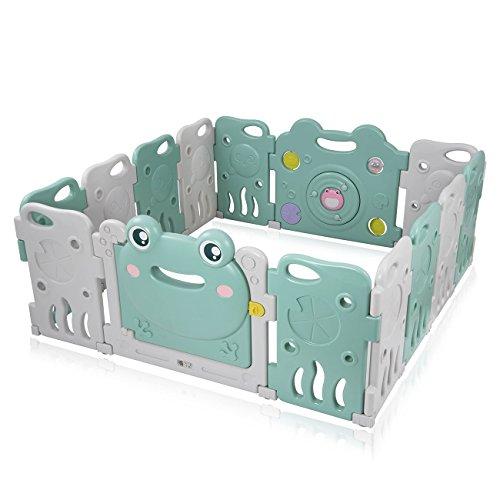 Baby Vivo Laufgitter Laufstall Baby Absperrgitter Krabbelgitter Schutzgitter für Kinder aus Kunststoff mit Tür und Spielzeug - Fridolin - Zaun Baby