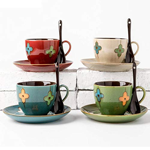 Gry Clover Kaffeetasse Keramik Nachmittagsteetasse mit Untertasse und Löffel 4er Set