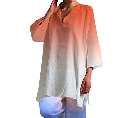 Felicove Frauen Bluse Damen Sommer Kurzarm Bluse Elegante Farbverlauf Bluse Beiläufiges V-Ausschnitt Leinen Lose Oberseiten T-Shirt