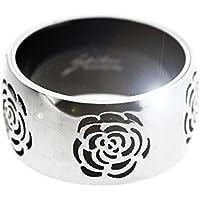 Picchi acciaio inossidabile 316L d'argento e anello fiore nero. Splendidamente presentato in una confezione regalo e organza sacchetto rosso.