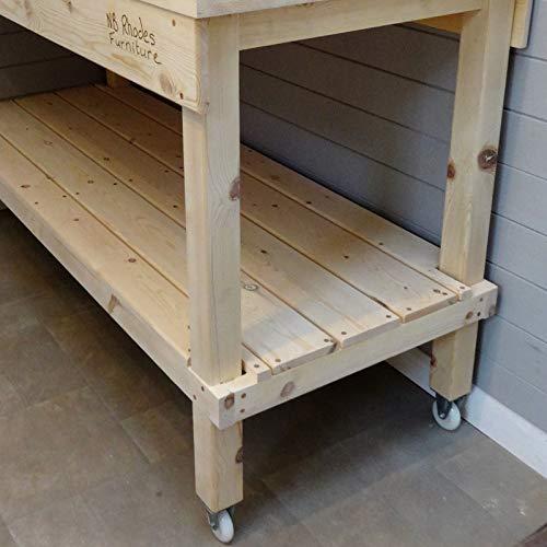 Werkbank aus Holz, 0,7 m - 2,1 m, 69 mm dicke Oberseite und Räder, Size=1.4m x 0.58m £565, Vice=No vice, 1