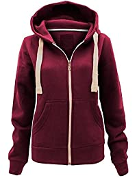 bf9e5a2ff3 Ladies Plain Zip Up Hoodie Womens Fleece Hooded Top Long Sleeves Front  Pockets Soft Stretchable Comfortable Plus Sizes Small to…
