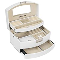 SONGMICS Jewellery Box, 3-Tier Jewellery Case, Lockable Jewellery Organiser with Mirror, Portable Travel Case for Rings, Bracelets, Earrings, Necklaces, Velvet Lining, Gift