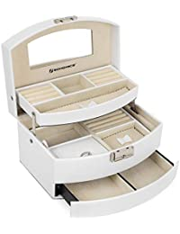 SONGMICS Jewellery Box, 3-Tier Jewellery Case, Lockable Jewellery Organiser with Mirror, Portable Travel Case, for Rings, Bracelets, Earrings, Necklaces, Velvet Lining, Gift, White, JBC213W