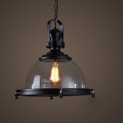 Leuchter MMM- Industrieller Art, Eisen-Lampen-Körper-Glas-Lampenschirm E27 (41 * 44cm, Hebeketten-Höhen-justierbares 100cm) - Art-glas-körper