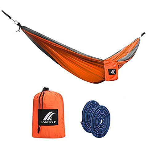 LEADSTAR 300 x 180 cm Mehrpersonen Nylon Hängematte Ultraleicht Tragbar Belastbarkeit bis 300kg - Orange mit 2x Karabinerhaken und 2x Haltegut