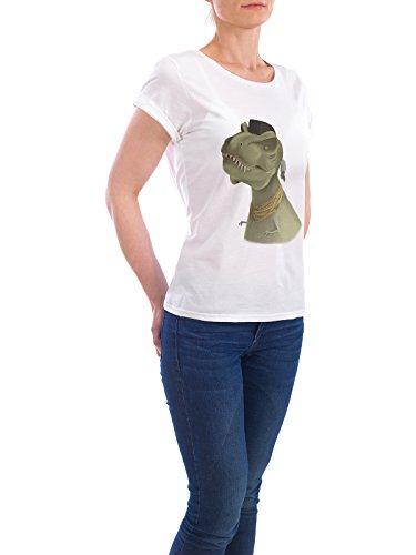 """Design T-Shirt Frauen Earth Positive """"Mr. T-Rex"""" - stylisches Shirt Tiere Film Fiktion von Anna Grape Weiß"""
