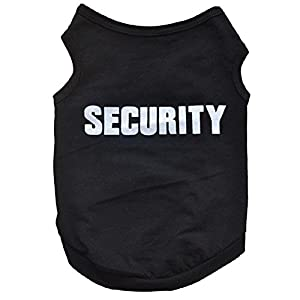 FEITONG Nouveau mode d'été mignon de chien Puppy Vest en coton imprimé T-shirt (L, Noir)