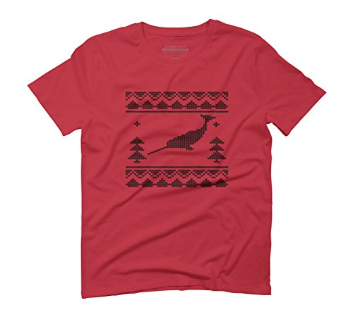 Narwhal Christmas Men's Graphic T-Shirt - Design By Humans Red