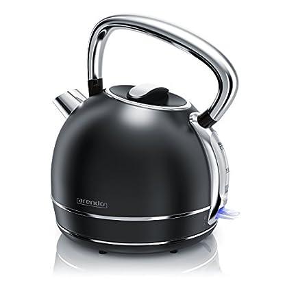 Arendo-Wasserkocher-Retro-EdelstahlTeekessel-im-Vintage-Style-max-2200-Watt-austauschbarer-Kalkfilter-Fllmenge-max-17-Liter-automatische-Abschaltung-schwarz