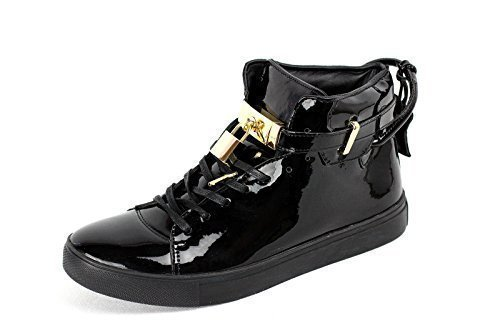 Uomo Con Lacci Festa Scarpe Da Ginnastica Casual Design Sneaker Alla Moda Alte Scarpe - Nero, 10 UK / 44 EU