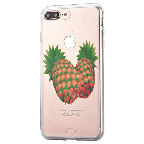 Cover iPhone 7, Yokata Custodia Trasparente Crystal Clear Coque PC Hart Backcover con Soft Morbido TPU Silicone Bumper Case et Ultra Slim Protettivo Case Cover + 1*Penna Stilo - Campanula Ananas