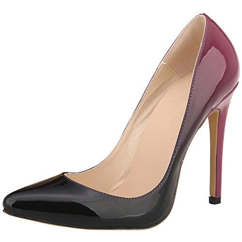 HooH Femmes Gradient Stiletto Pointed Toe Escarpins Pumps Wine Red