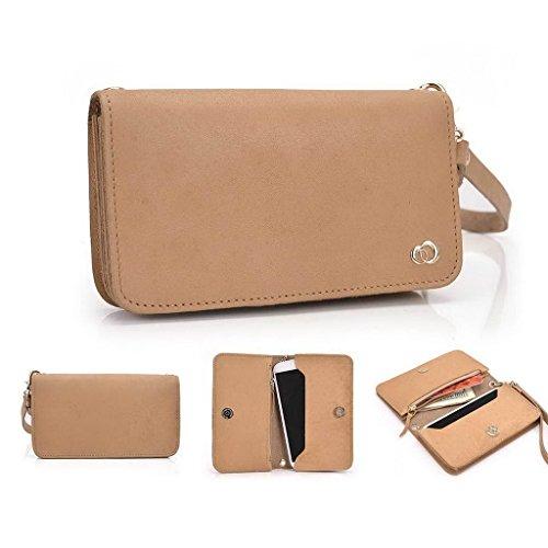 Kroo Pochette Cou en cuir fait avec dragonne pour Smartphone 12,7cm Housse de transport Compatible avec BenQ F5/A3 Marron - marron Beige - peau
