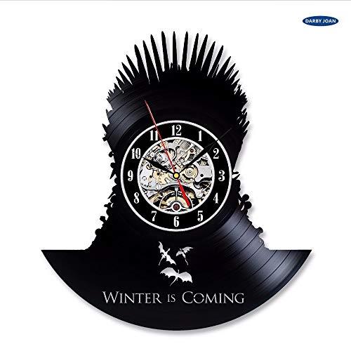 Juego de Tronos Vintage Vinilo Reloj de Pared Decoración Regalo,Reloj Despertador Reloj Grande