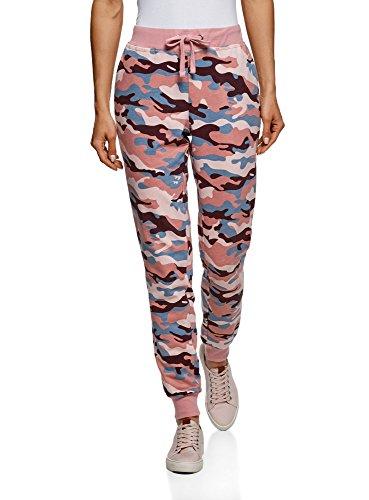 oodji Ultra Damen Bedruckte Hose mit Bindebändern, Rosa, DE 38 / EU 40 / M - Günstige T-shirts Teenager