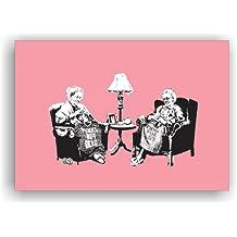 """'Imagen """"Banksy de impresión sobre lienzo 100x 70cm bastidor imagen–cuadro de lienzo lienzo Impresión–Madera contrachapada. b168"""