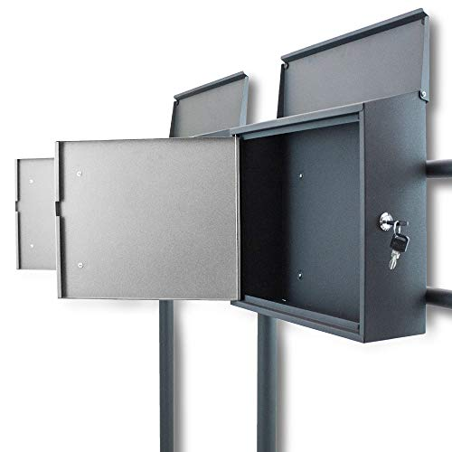 BITUXX® Freistehender Doppelstandbriefkasten Briefkastenanlage mit Seitenschloss und Post Schriftzug Dunkelgrau/Hellgrau - 3