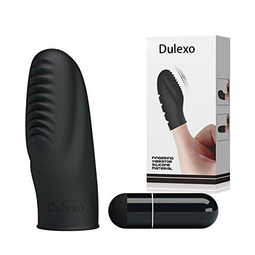 Dulexo Vibrador de dedo Estimulador de clítoris Sola velocidad de silicona dedo vibrador negro impermeable