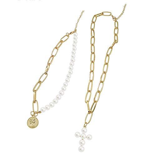 YXYDNPY Künstliche Perlenkette/Anhänger Halskette Kette/Multi-Layer Cross Sweater Kette-Short Fashion Einfache Schlüsselbein Kette,White - Herren Sweatshirt Glitter
