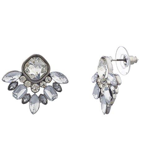 LUX Zubehör Silber Ton besonderen Anlass Edelstein Cluster Ohrring Ohrstecker Pfosten (Weißen Silber Diamant-ringe)
