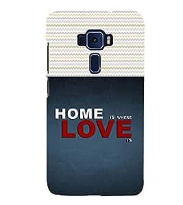 PrintVisa Home Is Where Love Is Wording 3D Hard Polycarbonate Designer Back Case Cover for Asus Zenfone 3 ZE520KL