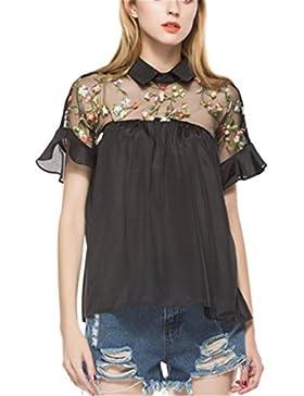 SHUNLIU Camisetas Mujer Blusas de Mujer Calado Bordado de Hilo de Costura de la Blusa Floja de Manga Corta Negra