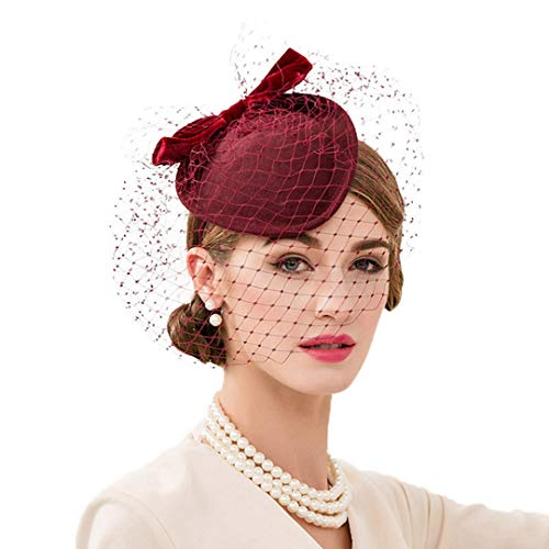 (OLADO Fascinators der Frauen Elegante Formale Wollfilz-Pillbox-Hüte Kirchen-Kirchen-Cocktail-Hüte)