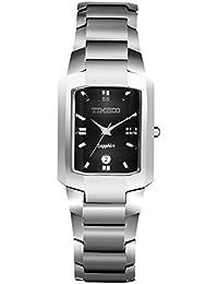 Time100 - Montre quartz couple pour homme carrée en acier au tungstène miroir en saphir de luxe incrustée de strass avec dateur- W50109G.01A