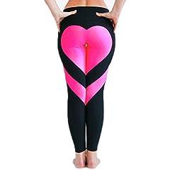 Idea Regalo - Leggings/pantaloni da donna alla moda con motivo a forma di cuore, per fitness e yoga,  collant sportivi a 3/4 aderenti ed elasticizzati per palestra, allenamento e corsa Black & Pink Small