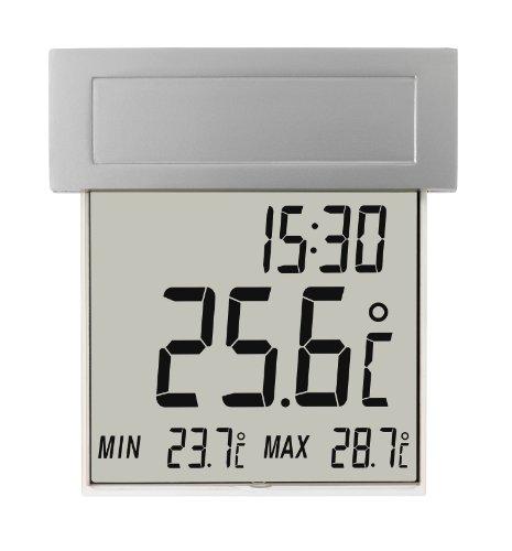 TFA Dostmann Vision Solar digitales Fensterthermometer, 30.1035, großes Display mit Außentemperatur