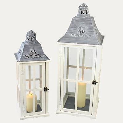 2tlg. Laternen Set Stalllaterne H75/48cm Windlicht Kerzenleuchter Kerzenhalter Gartenleuchte Dekoration Tischdekoration von Multistore 2002 auf Lampenhans.de