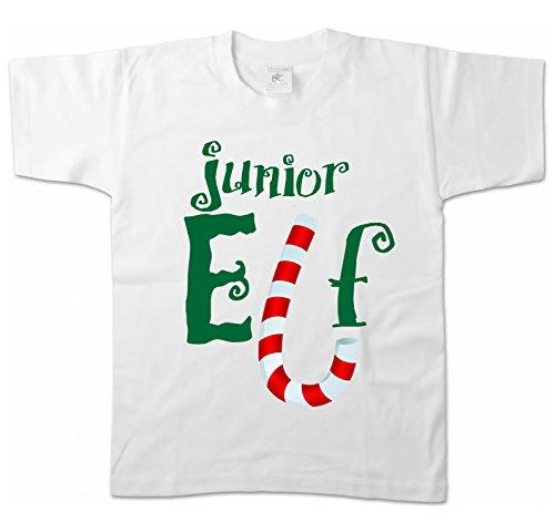 Artdiktat Kinder T-Shirt - Junior Elf Größe 152/164, weiß (Grinch Kostüme Für Kinder)