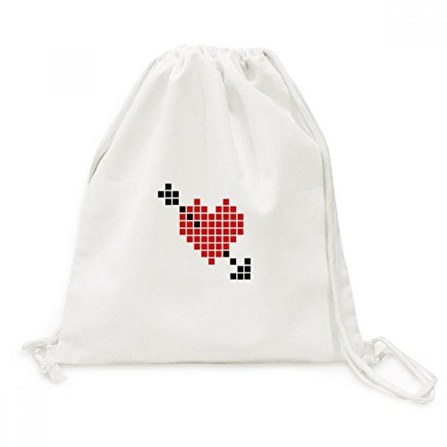DIYthinker Valentine Arror Pierce Via Coeur Pixel Toile Drawstring Backpack Voyage Shopping Sacs