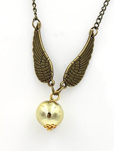 Steampunk Flying Golden Snitch Halskette Golden Orb Fliegender Engel Wizard Anhänger vergoldet (Orb Pendant Necklace)