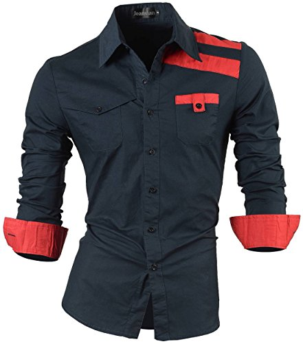 jeansian Herren Freizeit Hemden Shirt Tops Mode Langarmshirts Slim Fit 8371 8358_Navy