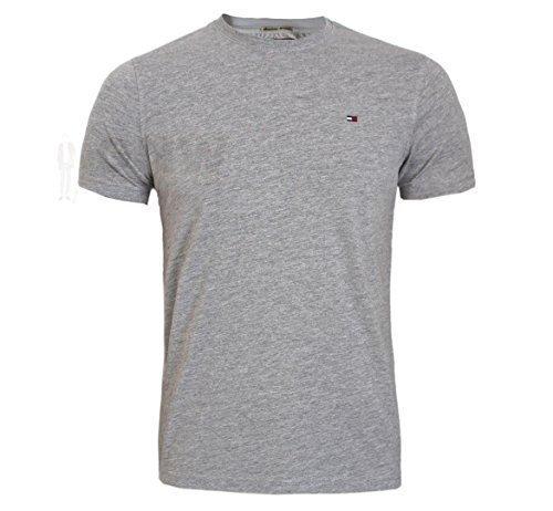 TOMMY HILFIGER DENIM HERREN HANSON T-SHIRT, T-SHIRT SCHWARZ, Weiß Größe S,M,L,XL,XXL SLIM FIT - Grau, XL (Lager T-shirt Schwarz)
