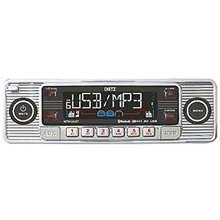 Dietz RETRO_200_BT Autoradio 1-DIN Retro Bluetooth-Radio CD, MP3, USB, SD, RDS, AUX mit Fernbedienung - Farbe: Chrom