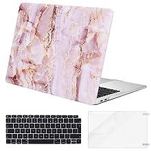 Eono MacBook Air 13 Pouces Coque 2019 2018 A1932 avec Retina Display, Coque Rigide& Protection Clavier&Protecteur d'écran Compatible avec MacBook Air 13 Pouces avec Touch ID, Marbre Rose