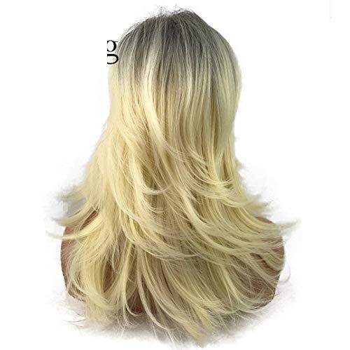 Lange Blonde mit dunklen Wurzeln Ombre Synthetic Full Wig Choppy Schichten Flip Out Perücken Ombre (Flip Perücke Kostüm)