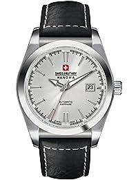 Swiss Military Hanowa - Reloj analógico automático para hombre con correa de piel, color negro