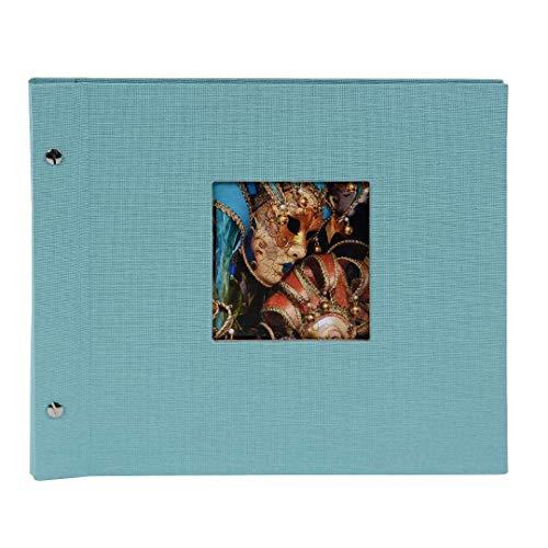 Goldbuch Schraubalbum mit Fensterausschnitt, Bella Vista Trend, 30 x 25 cm, 40 schwarze Seiten mit Pergamin-Trennblättern, Erweiterbar, Leinen, Aqua, 26507 -